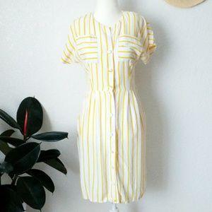80-90s Pin Striped Button Down Pencil Shirt Dress
